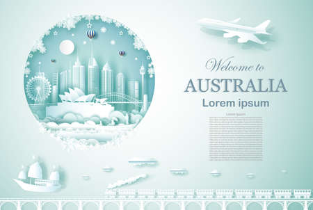 Travel landmarks Australia ancient and castle architecture monument with airplane, train and boat, Advertising template for travel company famous with paper cut, paper art style vector illustration.