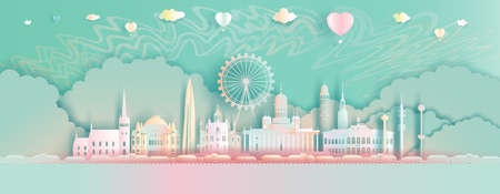 Landmarks travel Finland with balloons and northern light background. Paper Art, paper cut, Origami, and Postcard design.Travel Helsinki in Finland modern and ancient Architecture in cute style. 矢量图像