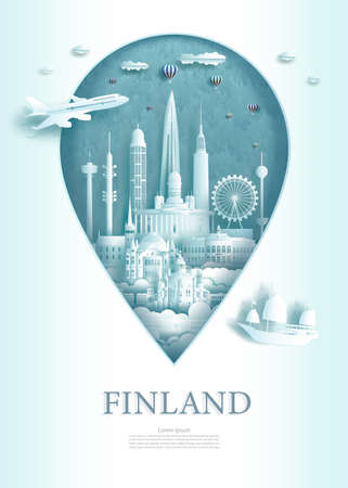 Vector illustration pin point symbol. Travel Finland architecture monument pin in europe with ancient city building business travel poster and postcard. Tour landmarks of Helsinki modern architecture. 免版税图像