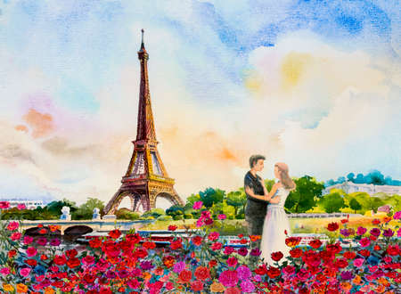 Paris european city landscape. France, eiffel tower and couple love man, woman, in red roses garden, Modern art, Watercolor painting illustration,wedding, Valentine day, greeting, invitation cards.