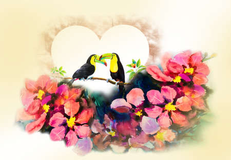 Hornbills bird couple on cherry branches in heart and flower abstract art watercolor pink,yellow color and emotion beauty in nature winter season on white background. Hand made illustration painting