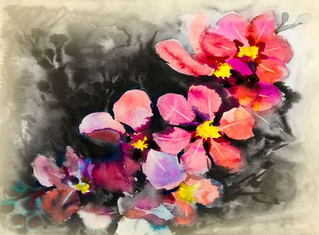 Flower abstract art watercolor pink,yellow color and emotion beauty in nature winter season or dark background. Hand made illustration painting