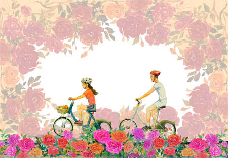 Watercolor painting red,pink flower color of roses with young man, woman,ride bicycle, vintage style, Valentine day, greeting cards, wedding in white background. Frame made note