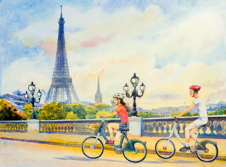 Paris european city landscape. France, eiffel tower and couple young, boys,woman,cycling on the street, modern, garden trees. Watercolor painting illustration,holiday travel,health Valentine,greeting.