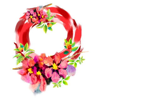 Stylized wreath of flowers, cherry watercolor painting composition for Valentine's Day, wedding, Mother's Day, sales and other events, for prints, greeting cards, posters, invitations