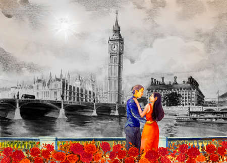 Men and women in evening dress at view Big Ben Clock Tower and thames river in London at England. Watercolor painting illustration landscape, beautiful roses  season. Landmark, business city in the moonlight.