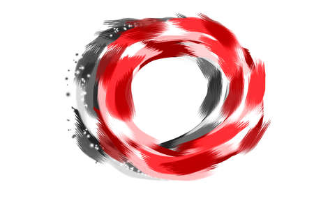 Abstract design watercolor painting  illustration red,black,gray color of stroke circle colorful bright,on white background.Hand painted beauty 免版税图像