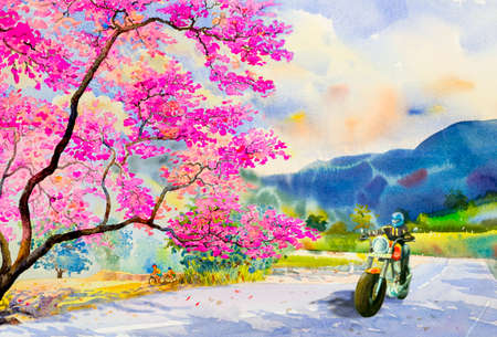 Men riding a motorbike, traveling, street view and pink flower of Wild himalayan cherry with emotion blue mountain,sky background. Watercolor painting illustration, beauty nature winter season.