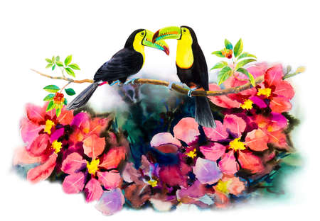 Hornbills bird couple on cherry branches and flower abstract art watercolor pink,yellow color and emotion beauty in nature winter season on white background. Hand made illustration painting