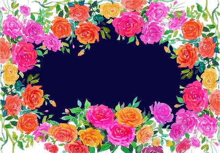 Watercolor painting red,yellow,orange,pink color of roses flower with vintage Valentine day, greeting cards in blue background. Frame made note 免版税图像