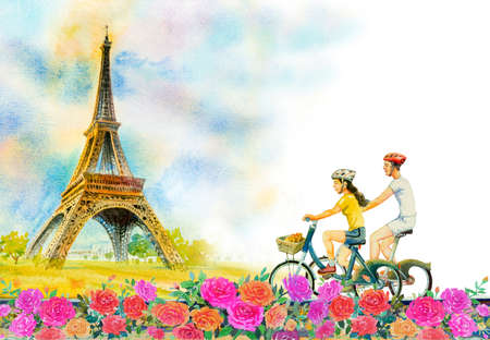 Paris european city landscape. France, eiffel tower and couple love man, woman, cycling tourism in roses garden, Modern art, Watercolor painting illustration, Valentine day, greeting, invitation cards. 免版税图像
