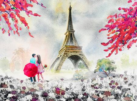 Paris european city landscape. France, eiffel tower and couple lovers man, woman, umbrella red, Modern art,daisy flower garden trees. Watercolor painting illustration,wedding, Valentine day, greeting. 免版税图像