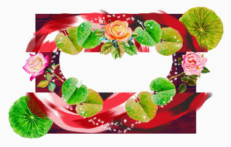 Abstract design watercolor painting illustration red,pink,black,green color of leaf and roses,stroke colorful bright,on white background. Hand painted beauty 免版税图像