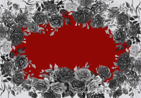 Watercolor painting black color of roses flower with Valentine day, greeting cards in red background. Frame made note