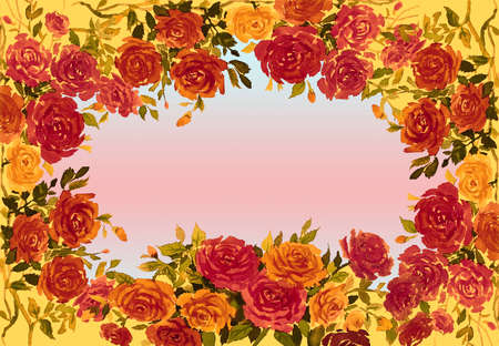 Watercolor painting red,yellow,orange color of roses flower with vintage Valentine day, greeting cards in soft background. Frame made note 免版税图像
