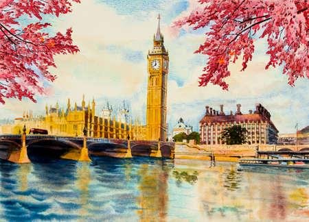 Autumn trees, Big Ben Clock Tower and thames river in London at England. Watercolor painting illustration landscape beautiful season. Landmark, business city 免版税图像