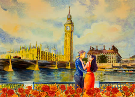 Men and women in evening dress at view Big Ben Clock Tower and Thames river in London at England. Watercolor painting illustration landscape, beautiful roses  season. Landmark, business city 免版税图像