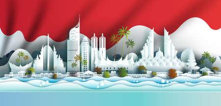 Landmark illustration anniversary celebration Indonesia day with Indonesian flag background. Travel landmarks city architecture in jakarta, sumatra in paper art, paper cut style. Vector illustration