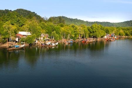 fishing village: fishing village in thailand