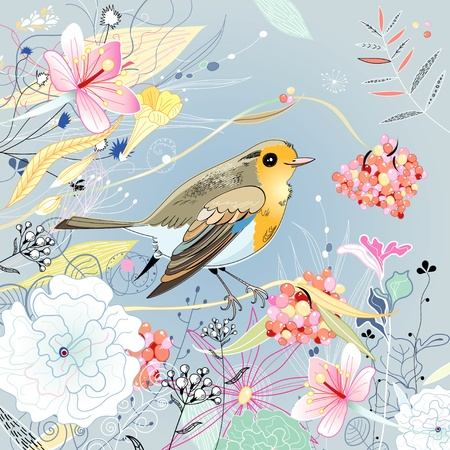 heldere mooie bloemen en bessen met een vogel op een blauwe achtergrond