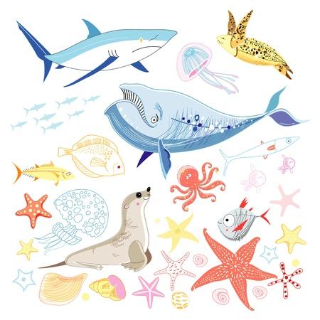 흰색 배경에 다양 한 흥미로운 다채로운 바다 동물 일러스트