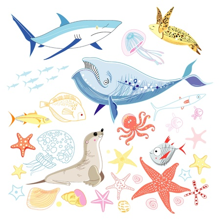 various interesting colorful sea animals on a white background Ilustração