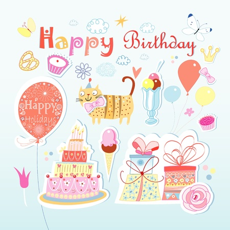 beautiful colorful set of different elements to the birthday on a light background Vector