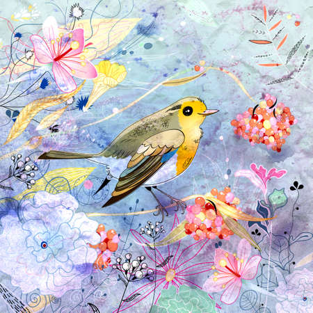 bright beautiful floral and berry with a bird on a blue background Stock Photo - 18788230