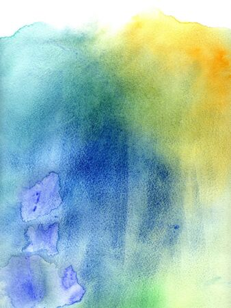 slick: Bright blue and green watercolor background with spots of paint on wet paper  Watercolor composition