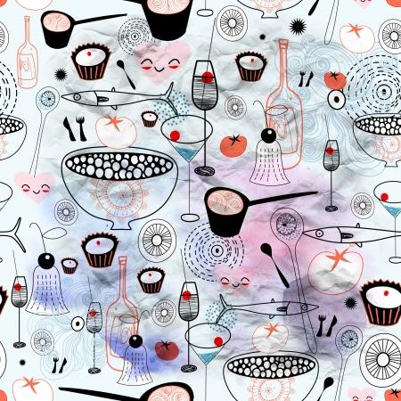 Naadloos grafisch patroon van eten en drinken op een blauwe aquarel achtergrond
