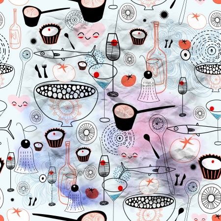 Seamless graphic pattern of food and drink on blue watercolor background