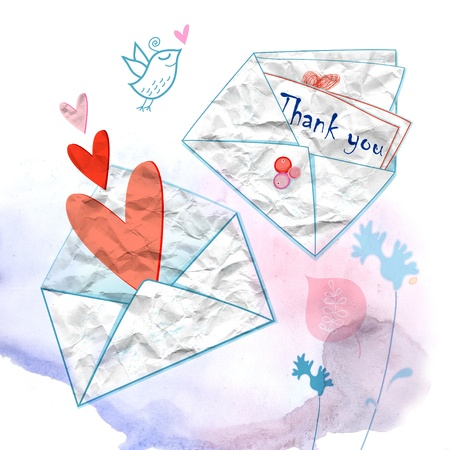 white graphic envelopes with hearts and inscriptions on a white background photo