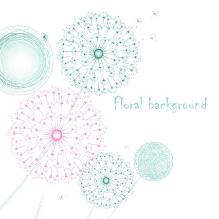 Graphic beautiful background with colored dandelions on a white background Vector