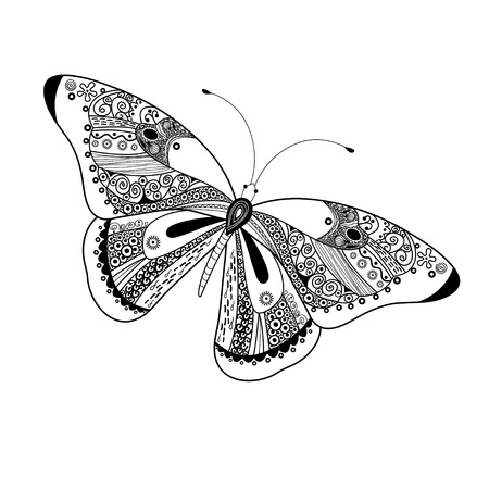 Beautiful decorative graphics butterfly on a white background Illustration