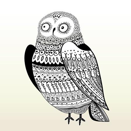 civetta bianca: Bella ornamentale civetta grafico su uno sfondo chiaro Vettoriali