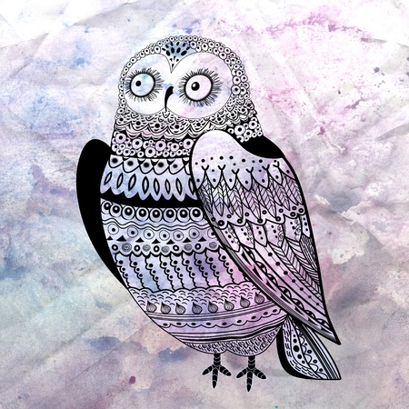 Excellent visual ornamental owl on textural watercolor background Stock Photo - 18901140