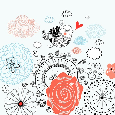 beautiful floral pattern in love with a bird on a light background Illustration