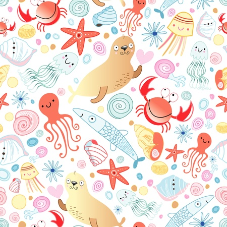 Seamless bright pattern of marine animals on a white background Stock Vector - 19067917