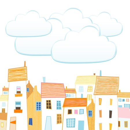 house sketch: Design a beautiful city and the bubbles for your text Illustration