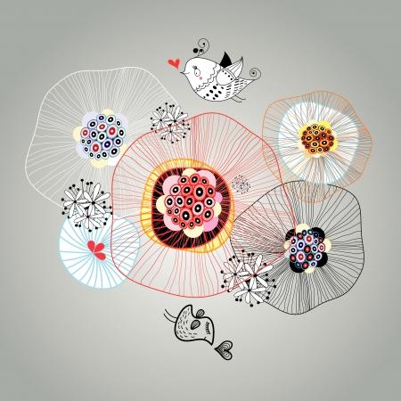 暗い背景に美しいグラフィック デザインとの愛の鳥  イラスト・ベクター素材