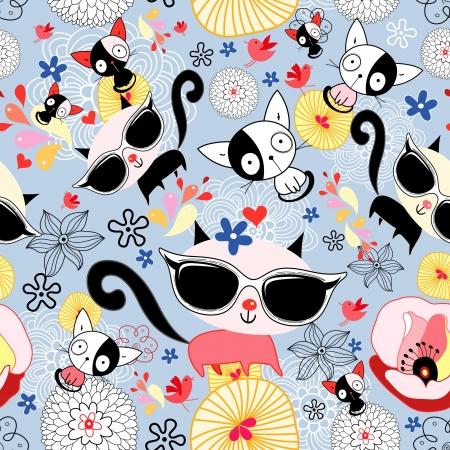 파란색 보라색 배경에 새끼 고양이와 원활한 플로랄 패턴