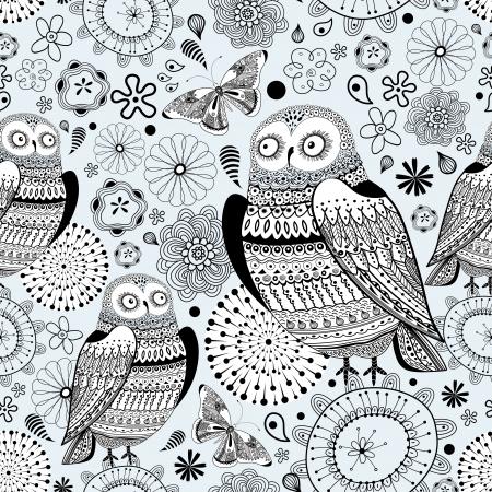美しいフクロウと青色の背景に蝶のシームレスなグラフィック パターン  イラスト・ベクター素材