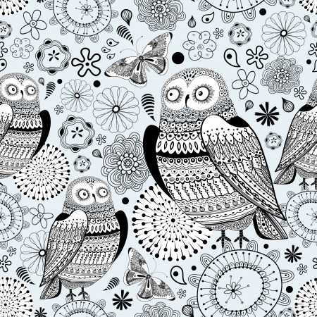 Seamless graphic pattern of the beautiful owls and butterflies on a blue background