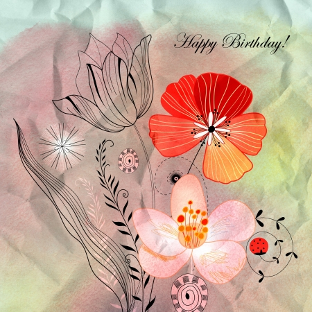 Greeting card with beautiful flowers on the beautiful graphic background Stock Photo - 19244653