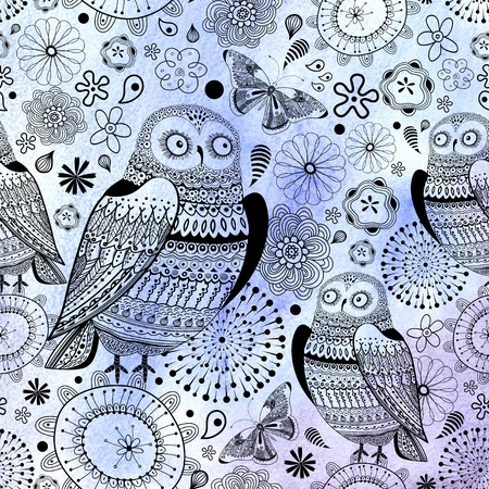 Seamless graphic pattern of the beautiful owls and butterflies on a blue background Stock Photo - 19244658