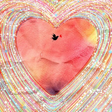 Bright watercolor background decorative heart and bird Stock Photo - 19244656
