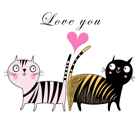 funny love cats on a white background with a heart