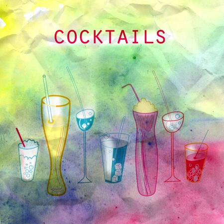 bright different cocktails on a beautiful watercolor background Stock Photo - 19376903