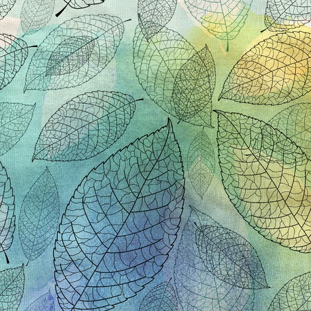 beautiful seamless graphic pattern of leaves on a blue background Stock Photo - 19376936