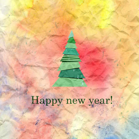 marvelous: beautiful Christmas tree on watercolor background with congratulations